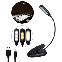 5 LED Book Light USB Clip Reading Lamp Flexible 3 Brightness Modes Warm Cool White Desk Table Lamps For Reading Book Lights cheap youe shone NONE LED Bulbs Black