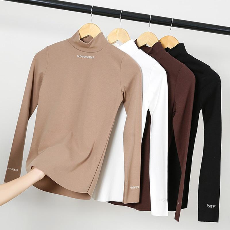 NORMOV New Spring Women Turtleneck T Shirt Thin Velvet Slim Bottoming Long Sleeve T Shirt Female Solid Embroidery T-Shirt Tops
