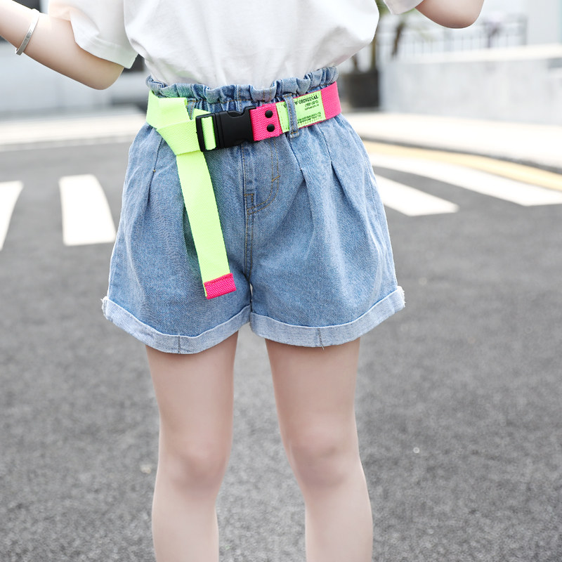 New Fashion Girls High Waist Denim Shorts With Belt Baby Girls Jeans Shorts Summer Cute Kids Clothes For Teenagers 13-4 Years