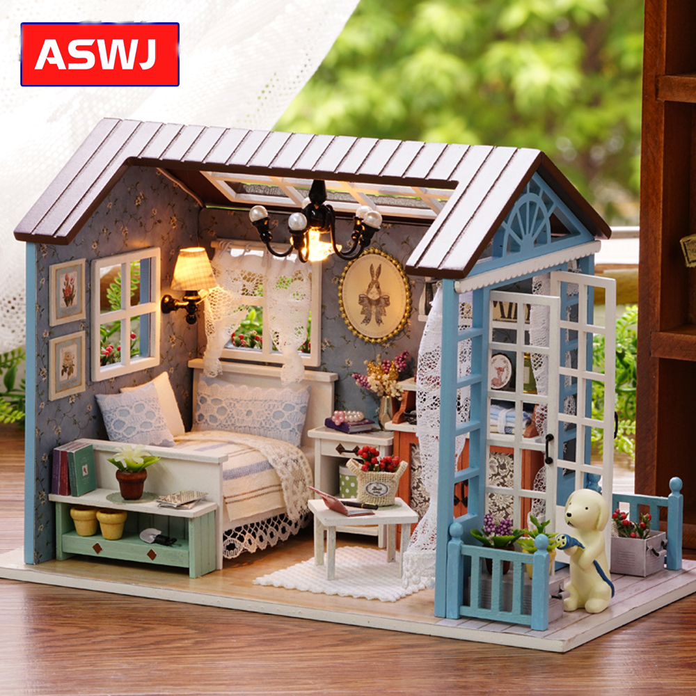 AN SHENG Miniature DIY Dollhouse With Furnitures Wooden House Cutebee Toys For Children Birthday Classic Christmas Gifts