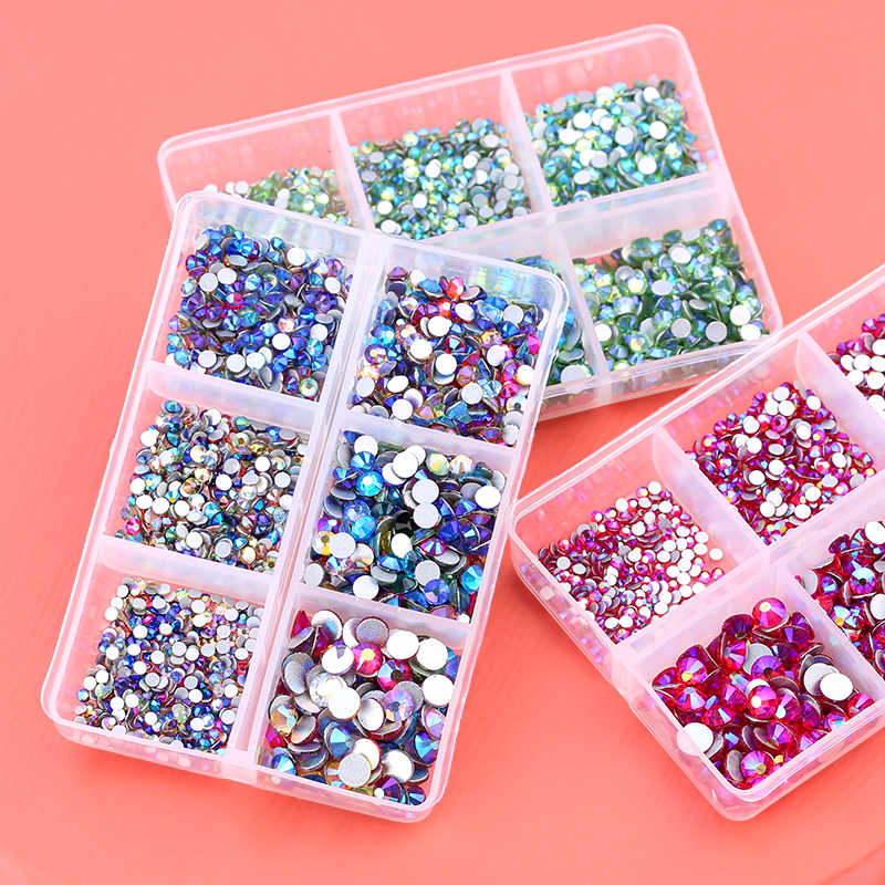 1560 Stks/doos Glas Kristal Mix Maten Niet Hot Fix Strass Set Plaksteen Crystal Nail Steentjes Diamant Voor Diy Decoraties