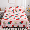 100% Cotton Flat Sheet For Children Adults Single Double Bed Strawberry Print Flat Bedsheets (No Pillowcase) XF716-2
