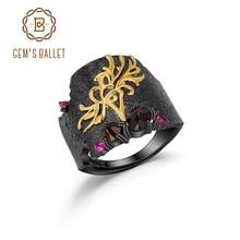 Bagues en pierres précieuses de grenat noir naturel de BALLET en argent Sterling 925, bague à fleur Equinox, fait à la main, bijou artistique pour femmes