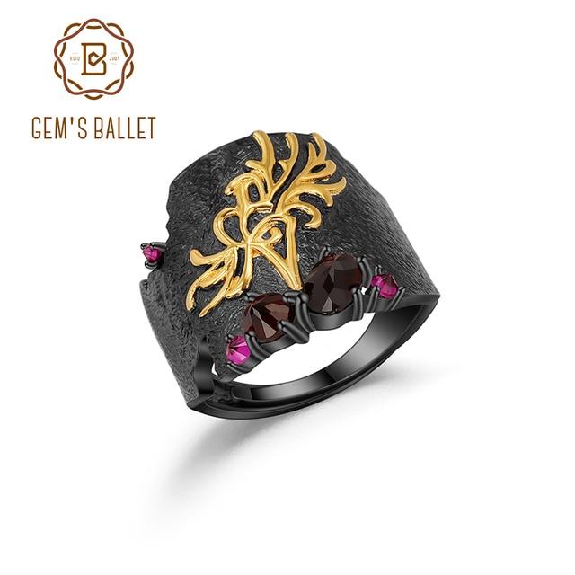 GEMS BALLET Natural Black Garnet Gemstones Band Ring 925 Sterling Silver Handmade Equinox Flower Rings Woman's Art Jewelry