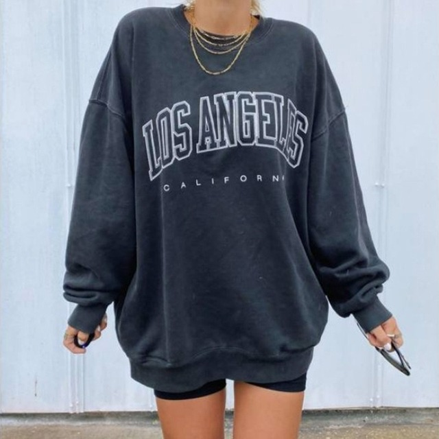 Navy Blue Vintage Letter Printing Sweatshirt Women Long Sleeve O Neck Oversized Hoodies Sports Girls Streetwear Autumn Plus Size 2