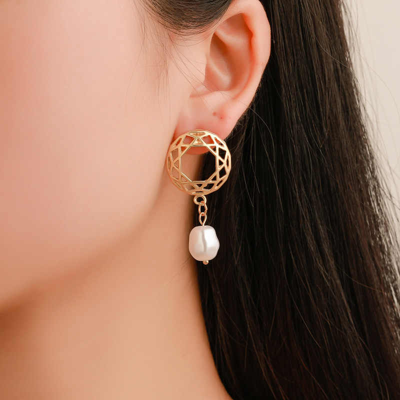 Mossovy Geometric Round Hollow Simulation Pearl Ladies Stud Earrings for Women Fashion Popular Alloy Earrings for Female Jewelry