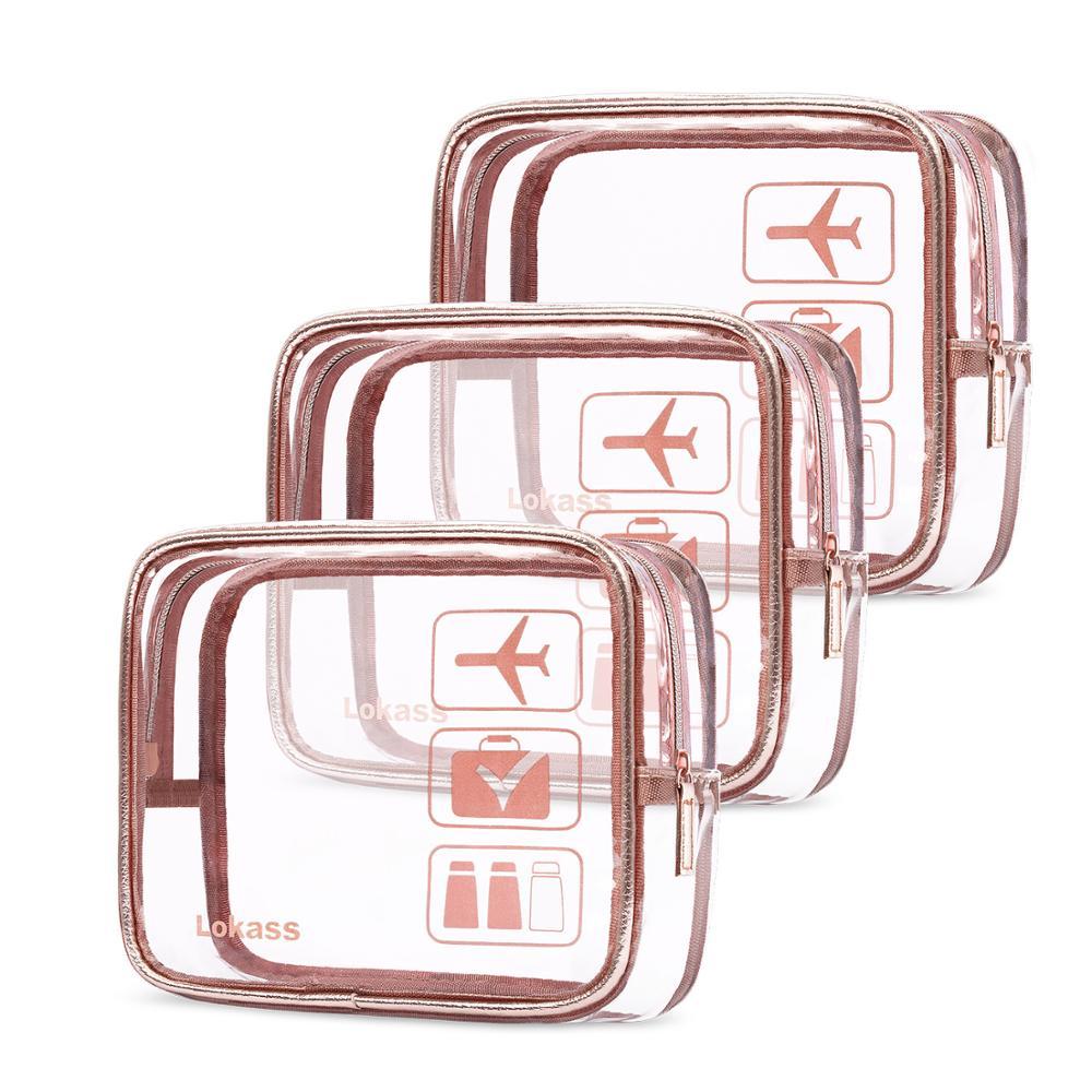 3 PCS Transparent PVC Bags Travel Organizer Clear Makeup Bag Beautician Cosmetic Bag Beauty Case Toiletry Bag Make Up Pouch Bag