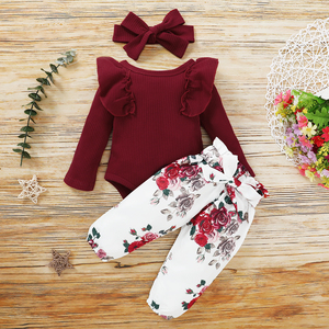 2020 New Three Piece Baby Girl's Clothes Fresh Solid Color Long Sleeve Jumpsuit and Flower Long Pants with Headband 0-18 Months