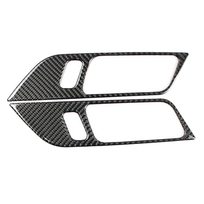 Otomobiller ve Motosikletler'ten Otomotiv İçi Çıkartmaları'de Bir çift karbon Fiber İç kapı kolu çerçeve dekorasyon çıkartmaları Mustang 2015 2018 için title=