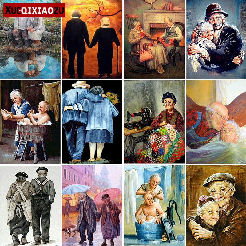 5D Diy Full Square/Round Diamond Painting Old Couple Mosaic Cross Stitch Embroidery Craft Kit Home Decoration Gift New Arrivals