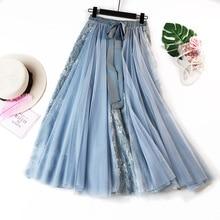 цена Long Black Skirt Korean Style Women Skirts Tie Bow Lace Insert Ruffle Skirt Faldas Largas в интернет-магазинах