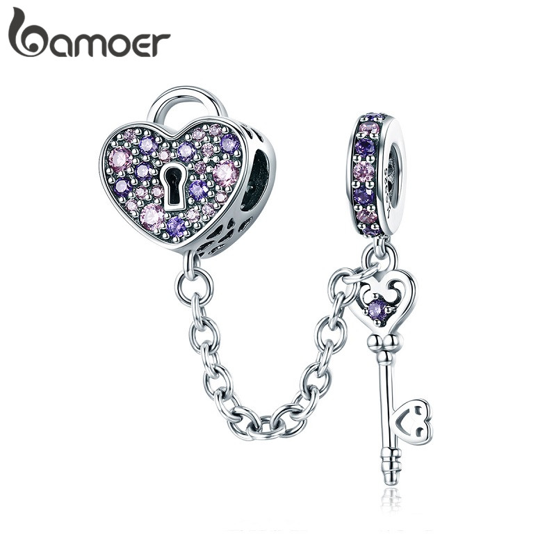 BAMOER 100% 925 Sterling Silver Key of Heart Lock Crystal CZ Chain Charms Fit Charm Bracelets & Necklaces Chain Jewelry SCC772(China)