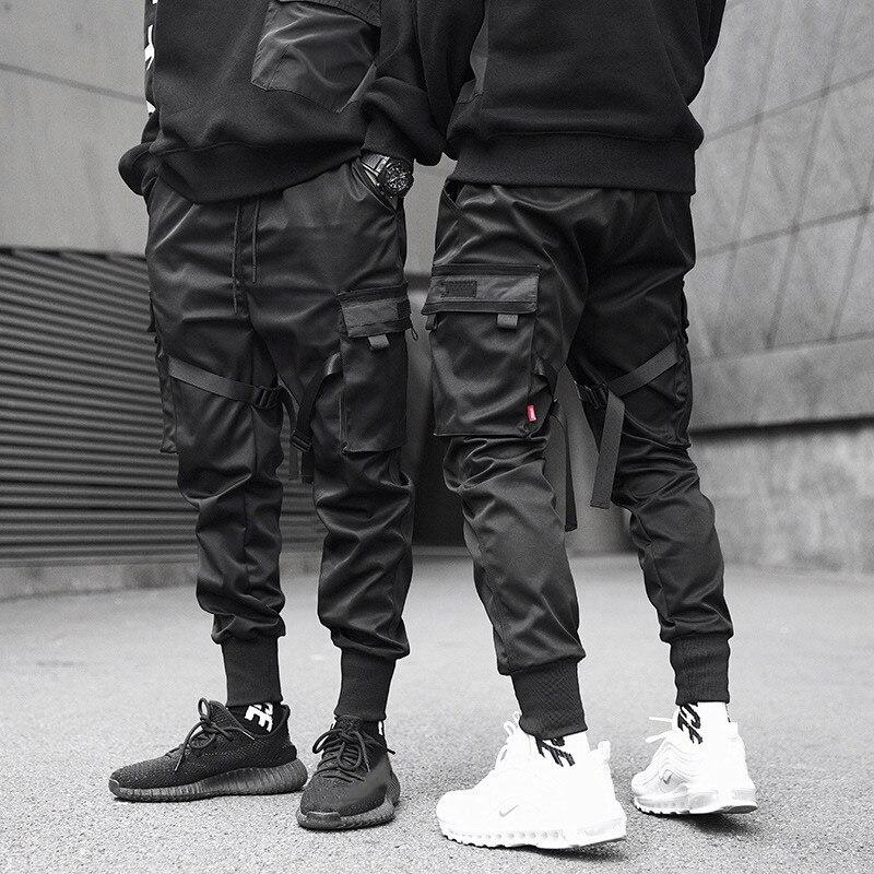 Мужские брюки-карго с цветными блоками и черными карманами, шаровары для бега в стиле Харадзюку, спортивные брюки в стиле хип-хоп