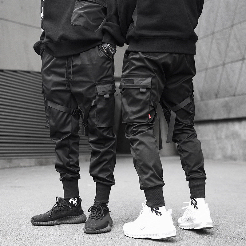 Men Ribbons Color Block Black Pocket Cargo Pants Harem Joggers Harajuku Sweatpant Hip Hop Trousers(China)