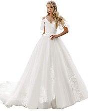 Свадебное платье с открытыми плечами и коротким рукавом реальные