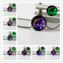 New jewelry retro crystal glass bronze luminous necklace twelve constellations full set