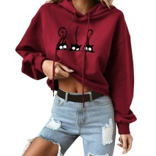 2019 New Casual Autumn Women Hoodies Fashion Long Sleeves Loose Cartoon Cat Print Simple Solid Color Pullover