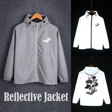 Kobiety i mężczyźni moda mężczyźni sport odzież na co dzień Zipper odblaskowy płaszcz Casual wiatrówka Harajuku Trench kurtki kurtka jesienny tanie tanio CN (pochodzenie) 0112 REGULAR STANDARD NONE Poliester Drukuj Kieszenie Z Nood Konwencjonalne Hiking Jackets Hunting Clothes