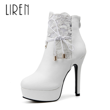 Liren 2019 Winter Women Fashion Sexy Ankle PU Zip Boots High Thin Heels Platform Round Toe Lace Sexy Lady Warm Boots стоимость