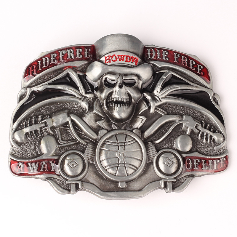 Skull skeleton belt buckle Belt DIY accessories Western cowboy style Smooth belt buckle Punk rock style k38