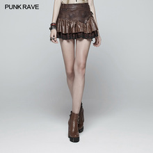 Punk Rave Women Short Skirt Casual Fashion Steampunk Ruffles Lace Sexy Pu Leather Party Pleated MiniSkirt