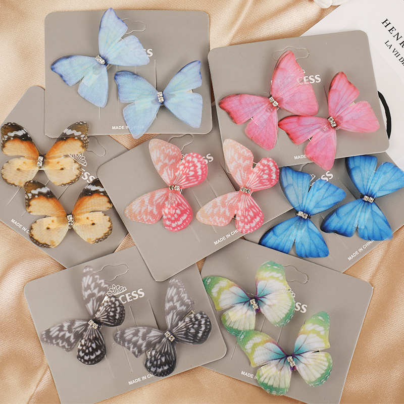 2pcs/Set New Cute Colorful Butterfly Hairpin For Women Girls Sweet Hair Ornament Clip Barrette Headband Fashion Hair Accessories