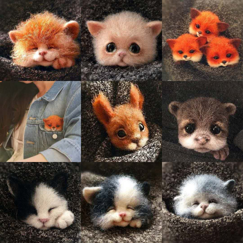 Relaxed DIY Non Finished Women Handmade Pocket Animal Pet Doll Toy Wool Needle Felting Kit Dog Cat Fox Head Decor Dog Fox Rabbit