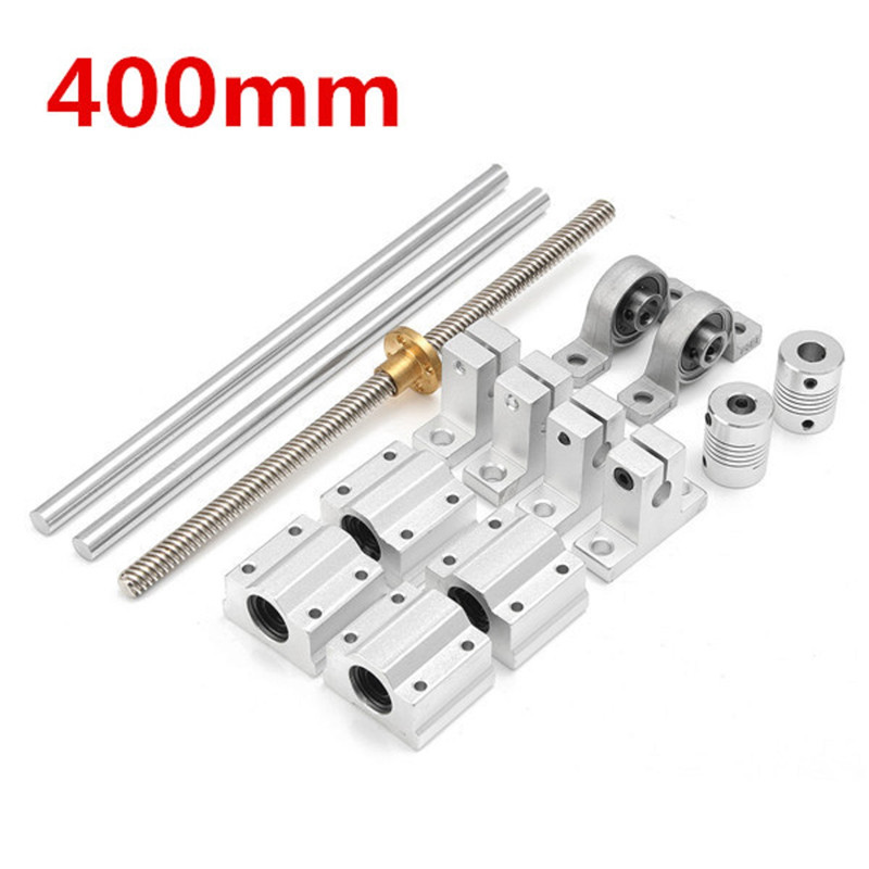15pcs 400mm CNC Parts Steel Optical Axes Guide Bearing Housings Rail Shaft Support Lead Screws Rod Slide Bushing Set