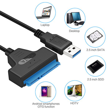 ATA 3 Cable Sata To USB Adapter 6Gbps For 2.5 Inches External SSD HDD Hard Drive 22 Pin Sata III Cable USB 3.0 Port Connection