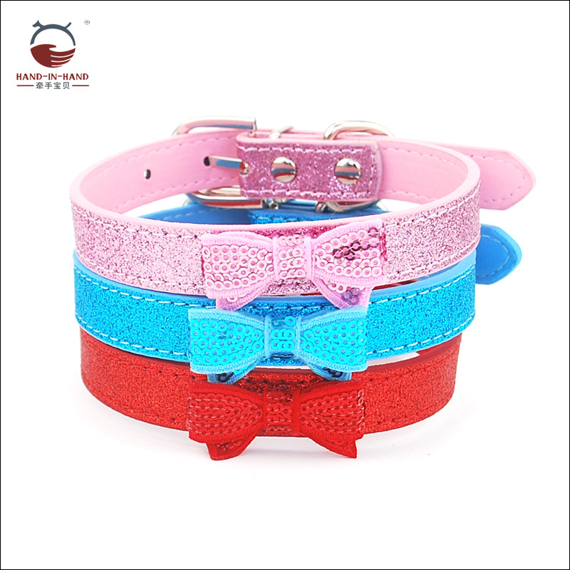 Hand-in-hand Pet Supplies Pet Collar Large Dog Collar Dog Supplies Bow Leather Neck Band