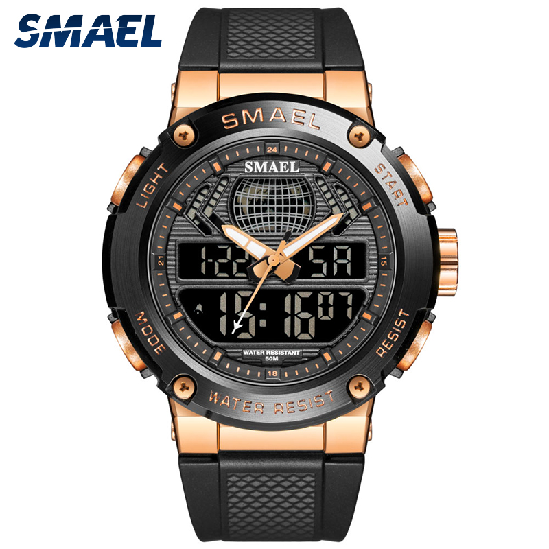SMAEL 3 Time Luxury Sport Watches Men Dual Display Waterproof 50m Chronograph Military Watches Big Dial Male Alarm Clock 8032