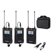 Comica CVM WM100 Plus UHF 48 Channel Wireless Dual Lavalier Microphone System for DSLR Camera,XLR Camcorder & Smartphone