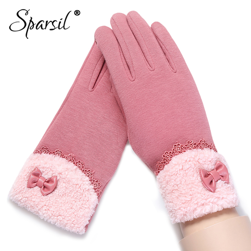 Sparsil Women Winter Warm Touch Screen Gloves Cashmere Wrist Full Fingers Mittens Girl Fashion Lace Elegant Ladies Glove Female