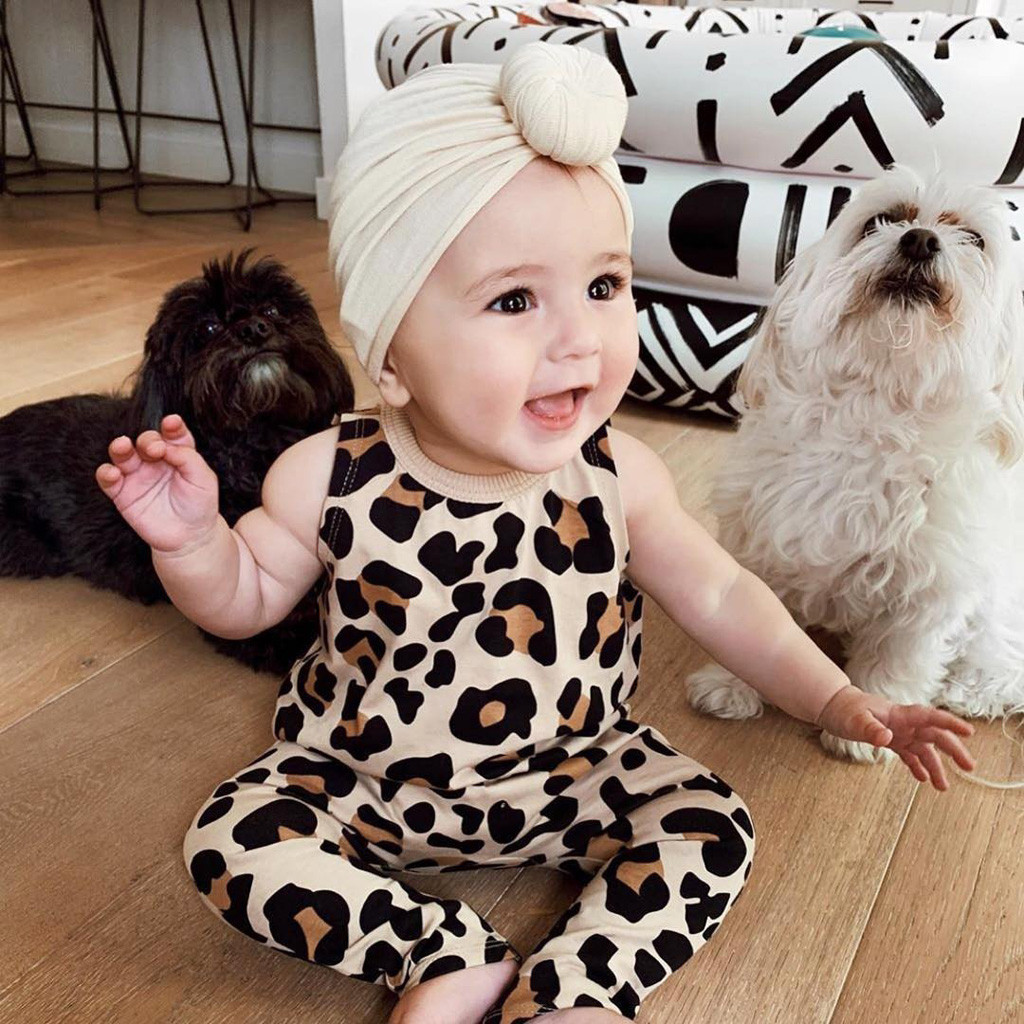 Leopard print Round neck Autumn And Winter baby clothes sleeveless Single-breasted fashion clothes newborn Baby jumpsuit romper