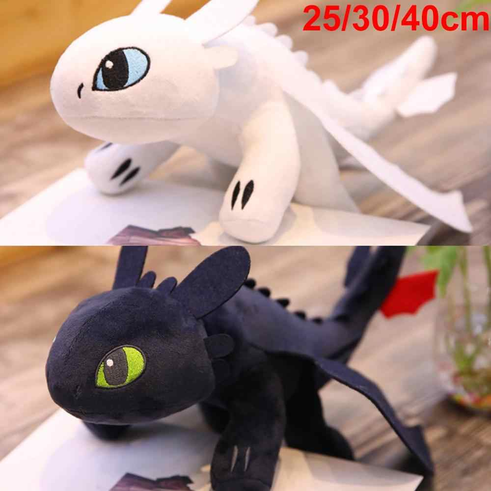 25/30/40cm How to Train Your Dragon 3 Toothless Anime Figure Night Fury Light Fury Dragon Stuffed Toys for Kids