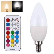 3W E27/E14/E12/B22 RGB Color Changing LED Candle Light Bulb with Remote Control for party daily use(China)