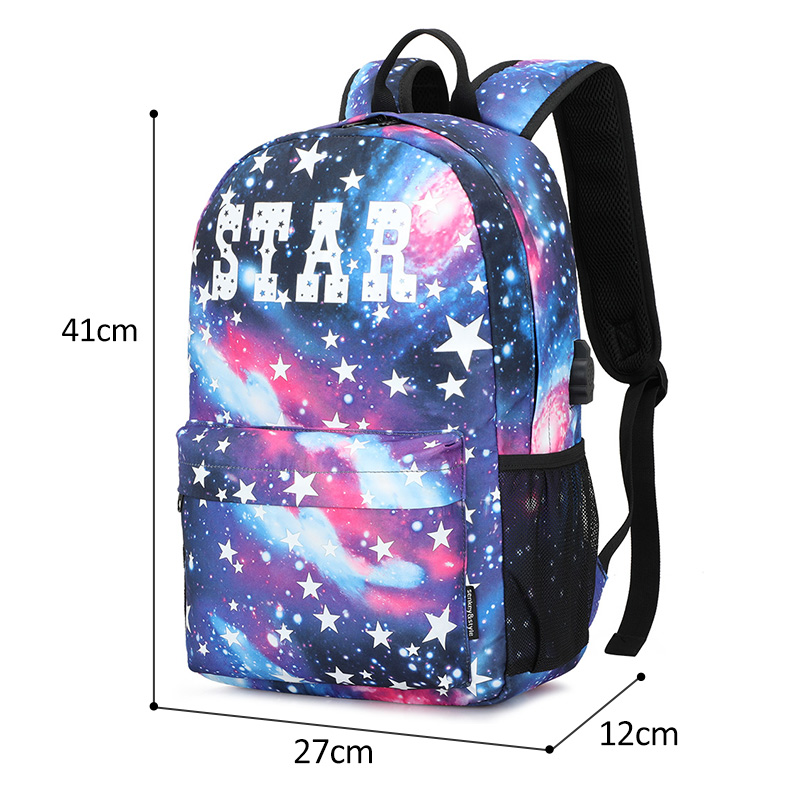 Luminous Student School Bag Anime Laptop Backpack for Boy Girl Daypack with USB Charging Port Anti-theft Lock Camping Travel bag 6