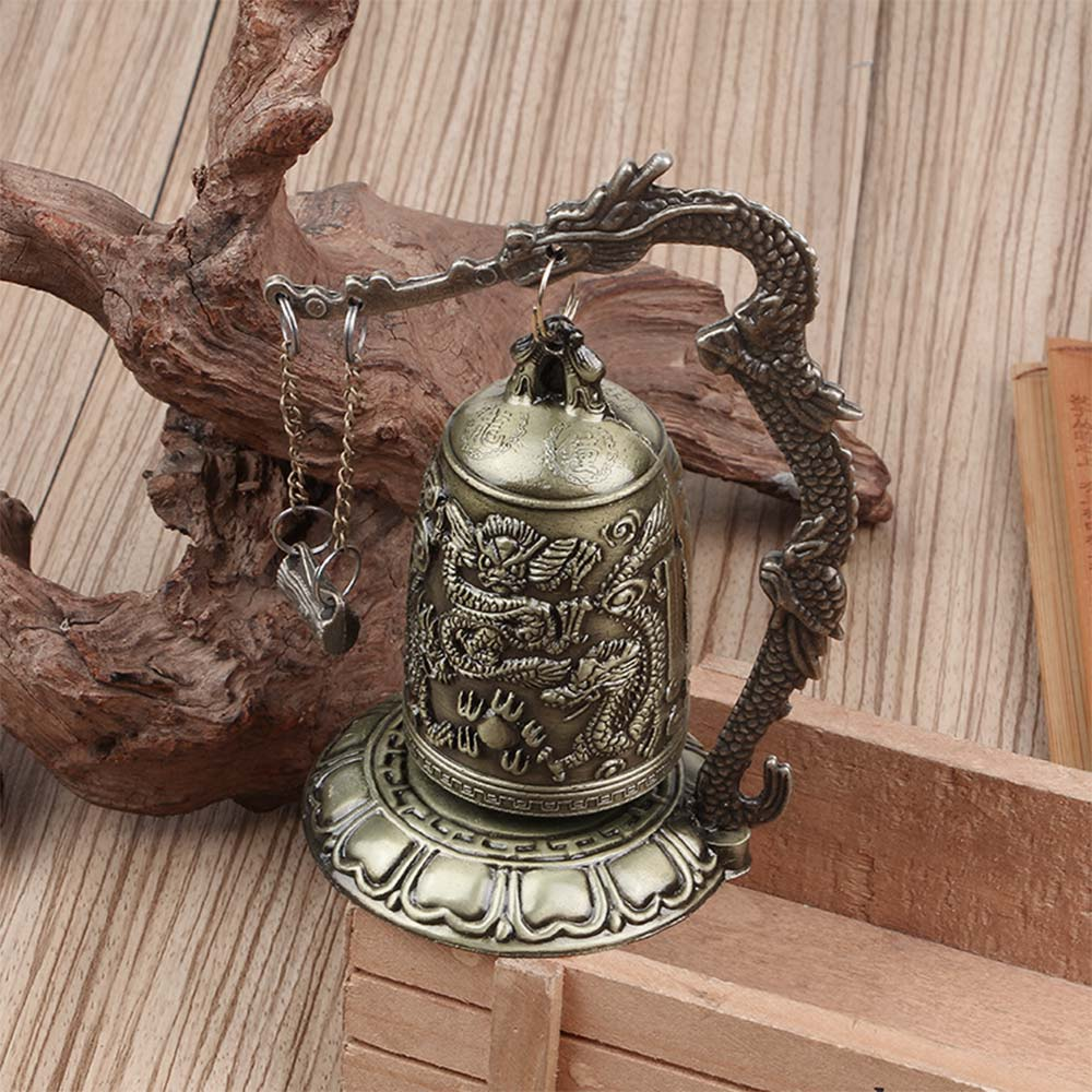 Buddhism Arts Dragon Bell Brass Asian Antiques Carved China Clock Copper Temple Statue China Style Lucky Buddha Lotus Antique