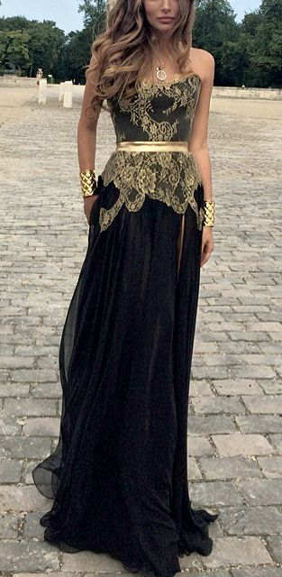 Robe Mariage Abiti Da Cerimonia Black And Gold Gown Gatsby Inspired Party Gown Prom Gown Lace Bridesmaid Dresses