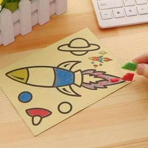 5PCS/lot Kids DIY Color Sand Painting Art Creative Drawing Toys Learn Art Sand Paper Crafts Education Toys Children Drawing Gift