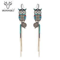 Viennois Owl Tassel Earrings Coffee Gold Color Dangle Earrings For Women Jewelry 2019