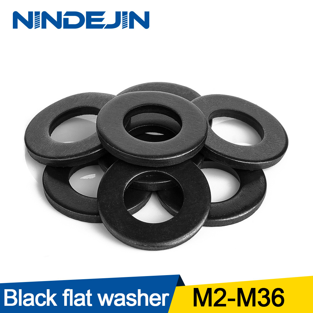 1/100pcs Plain Flat Washer M2 M2.5 M3 M4 M5 M6 M8 M10 M12 M14 M16 M18 M20 M22 M27 M30 M33 M36 Carbon Steel Washers Gaskets