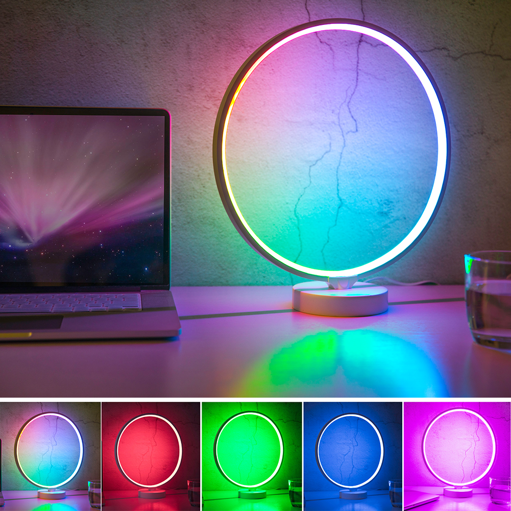 Modern 4 Speeds Circle Table Home Remote Control Dimmable Practical Bedside Lamp Memory Function RGB Decor 6 Lighting Modes