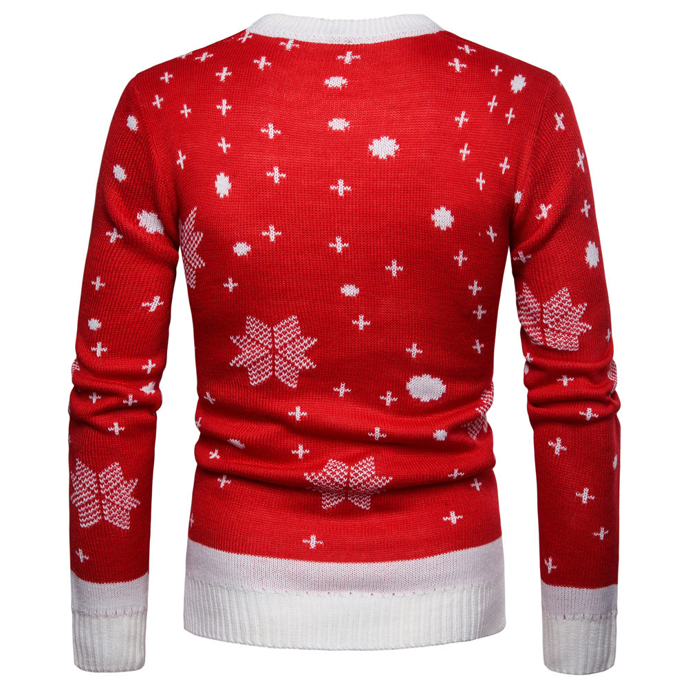 2019 Christmas Reindeer Printed Sweater Men O-Neck Long Sleeve Cosplay Pullovers 2019 New Year Autumn Winter Men's Warm Clothes