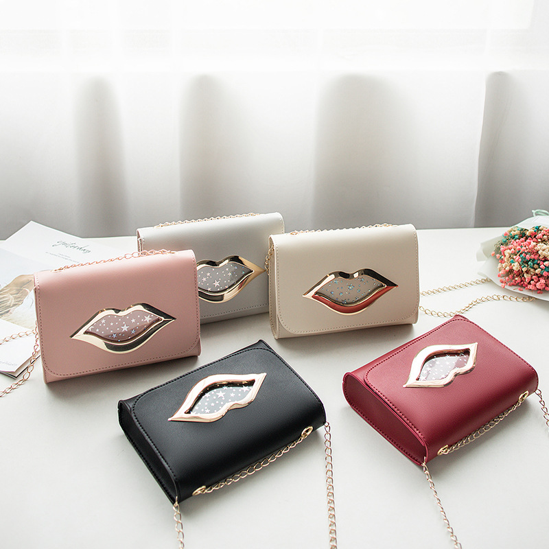 Fashion Big Lips Shoulder Bag For Women 2019 Shiny Stars Leather Change Purse Female Crossbody Messenger Chain Bags Ladies