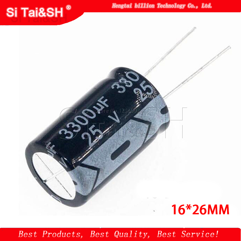 10PCS 25v3300uf 3300uf25v 16*26MM <font><b>25v</b></font> <font><b>3300uf</b></font> 16x26 Electro Electrolytic <font><b>capacitor</b></font> image