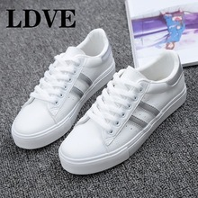 HOT Women Sneakers 2019 Fashion Breathable Vulcanized Shoes Pu leather Platform Lace up Casual White