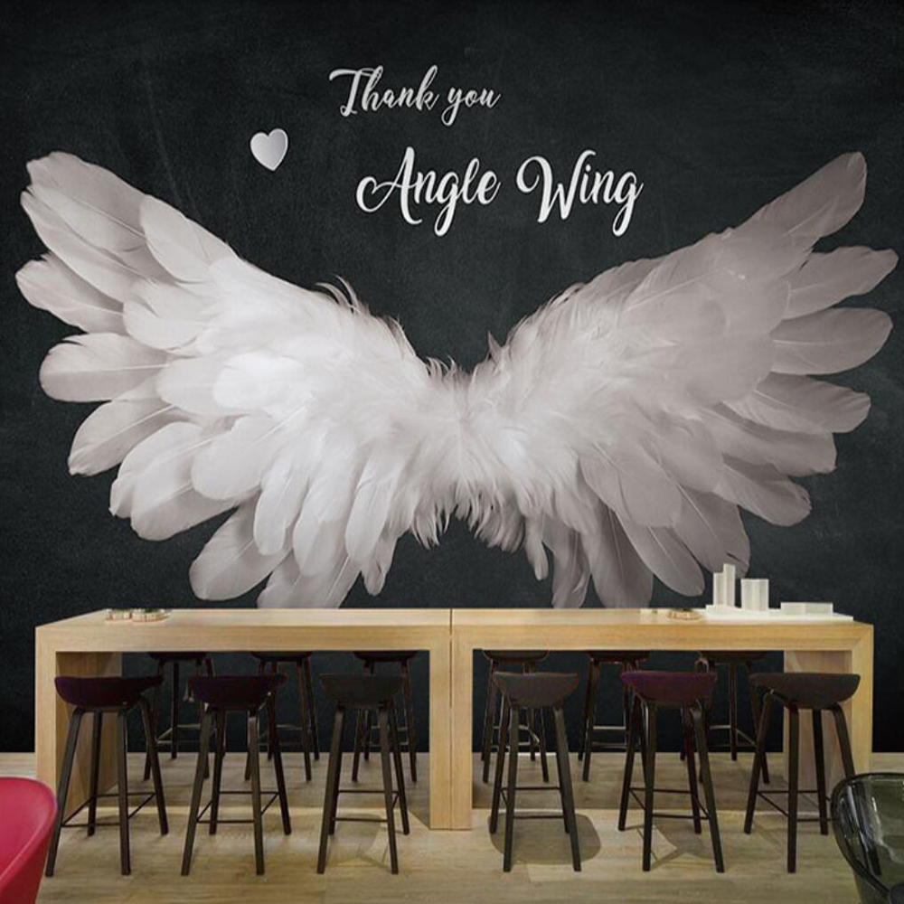 Custom 3d Stereo Angel Wings Background Wall Paper Feather Wallpaper Dark Dance Studio Live Studio Decoration