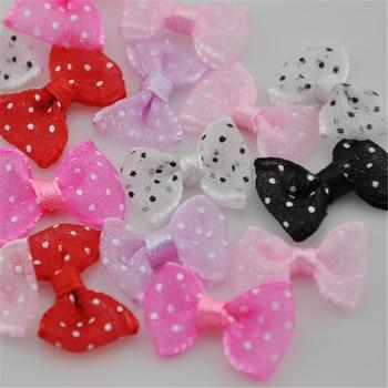 Upik 60 uds Organza flor cinta moños Dot Appliques costura artesanía lotes E13