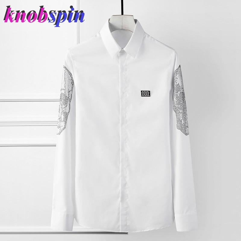 2019 Top Brand Shirt Men Solid Slim Long Sleeve Business Male Dress Shirts High Quality Social Camisas Masculina Big Size 4XL